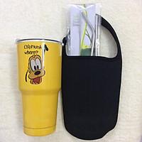 Ly giữ nhiệt Thái Lan 900 ml tặng 2 ống hút inox + 1 túi giữ nhiệt + 1 cọ rửa ống hút _ hoạt hình vàng