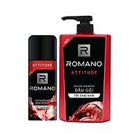 Combo Dầu gội nước hoa cho nam Romano Attitude 650gr & Xịt khử mùi toàn thân Attitude 150ml
