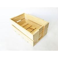 Thùng gỗ đa năng - Hộp khay gỗ pallet (màu gỗ tự nhiên, size S: 14x25x11cm)