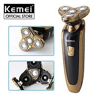 Máy cạo râu Kemei KM-361 cao cấp với 4 lưỡi cạo đàn hồi ôm sát mặt chống thấm nước IPX4 có thể cạo khô hoặc ướt