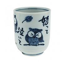 Cốc uống trà Nhật Bản hoạ tiết cổ điển hình Cú Mèo may mắn cao cấp nhập khẩu EVAN- JB010