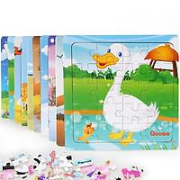 Combo 10 tranh ghép 20 mảnh bằng gỗ MK002  - đồ chơi ghép hình bằng gỗ an toàn cho bé