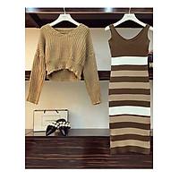 Set áo váy len màu nâu tây, trẻ trung, cá tính