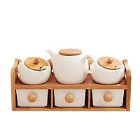 Bộ đựng gia vị bằng gốm sứ giá gỗ 2 tầng 5 hũ và 1 ấm