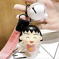 Móc khóa leng keng Maruko kute dây strap hồng - Chữ Nhật Bản