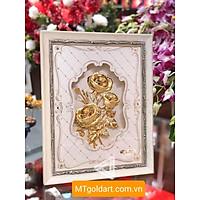 Tranh hoa hồng dát vàng (27x34cm) MT Gold Art- Hàng chính hãng, trang trí nhà cửa, phòng làm việc, quà tặng sếp, đối tác, khách hàng, tân gia, khai trương