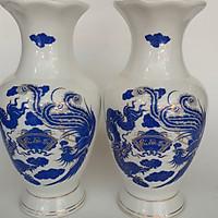 Cặp Bình hoa - Cặp Lộc bình Long Phượng sứ Cẩm Thạch  Bát Tràng 29 cm