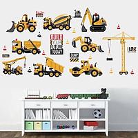 Decal dán tường cho bé hình các loại xe công trường