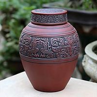 Chum sành ngâm rượu đắp nổi hoa văn cổ 5L gốm sứ Bát Tràng (bình rượu, bình ngâm rượu, chum ngâm rượu)