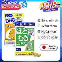 Combo SÁNG DA - MỜ THÂM DHC Nhật Bản gồm viên uống vitamin C và viên uống trắng da 30 ngày JN-DHC-CB1