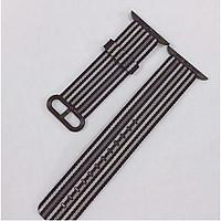 Dây đeo dành cho đồng hồ Apple Watch Woven Nylon màu đen kẻ trắng