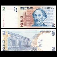 Tờ tiền giấy Argentina 2 Pesos ở Nam Mỹ ngày xưa, tiền cổ Nam Mỹ, mới 100% UNC - tặng kèm bao lì xì