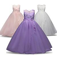 Children's Festival Wedding Princess Embroidered Long Dress for Girls