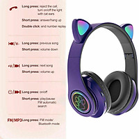 Girl Wireless Gaming Headset, Cute Cat Ear Headset with LED Lights, Noise Cancelling Stereo Gaming Headphones, Fashion Bluetooth 5.0 Headset for Kids