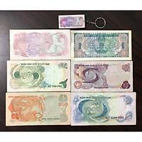 Tiền cổ Việt Nam, đủ bộ 6 tờ hoa văn (tặng kèm móc chìa khóa tiền cổ)