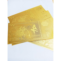 combo 5 tờ lưu niệm hình con Trâu, chất liệu nhựa plastic mạ một lớp màu vàng, dùng để trang trí trong nhà, làm tiền lì xì dịp Tết Tân Sửu 2021,
