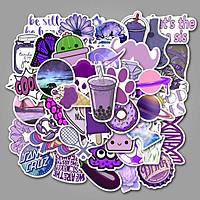 Set 30 Sticker chủ đề màu tím, Purple ảnh ép lụa