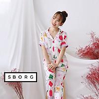 Đồ bộ mặc nhà SBORG bộ pijama nữ lụa satin cao cấp họa tiết cute tay ngắn quần dài có túi bigsize 45-75kg quà tặng vợ, thoải mái mặc ở nhà hoặc đi ra ngoài