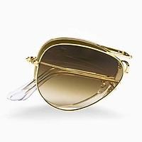 Kính râm nam nữ thời trang gọng gấp mắt kính thủy tinh màu trà chống lóa chống tia UV