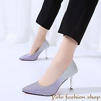 Giày cao gót nữ kim tuyến phối màu gót nhọn 9cm hàng Quảng Châu cao cấp CC03
