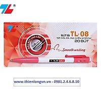 Hộp 20 cây bút bi bấm 0.8mm Thiên Long - TL08 màu đỏ
