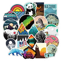 Set 30 Sticker Wilderness Nature, thiên nhiên hoang dã động vật ảnh ép lụa