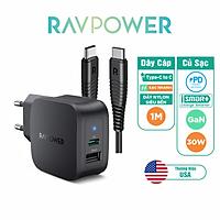 Combo RAVPower Củ Sạc Điện Thoại 2 Cổng 30W RP-PC132 + Dây Cáp Sạc Type-C To C RP-CB047 - Hàng Chính Hãng