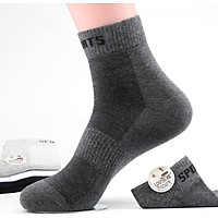 Langsha socks men's cotton tube summer thin section breathable sweat-absorbent antibacterial cotton sports socks summer men's socks black 3 dark hemp gray 3