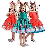 Girl Christmas Dress Santa Claus Snowflake Lace Patchwork Dress Cartoon Print Dress