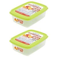 Combo 2 hộp nhựa đựng thực phẩm Fitin Pack nắp dẻo 900ml nội địa Nhật Bản