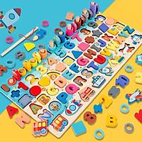 Bộ đồ chơi gỗ câu cá bảng chữ cái và ghép số học đếm cho bé, bộ bảng số và chữ thông minh