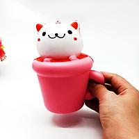 Squishy mô hình mèo trong cốc quà tặng cho bé