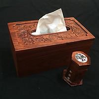 Hộp đựng giấy ăn gỗ hương chạm khắc hình Hoa Hồng tinh xảo tặng kèm hộp đựng tăm khảm chai  - hàng làm kỹ ( hình thật )