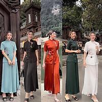 Đồ Lam Nữ Đi Chùa - Bộ Đi Lễ Chùa 2AL018 Trang Nhã Thêu Cá Ngọc Xinh Lung Linh Dành Cho Phật Tử 4.8