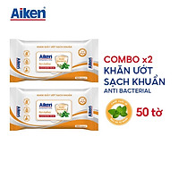Aiken Combo 2 Gói Khăn Ướt Sạch Khuẩn Chiết Xuất Bạc Hà 50 Tờ/gói