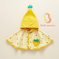 Áo Choàng Cánh Dơi Màu Vàng Cotton Hoạ Tiết Ngộ Nghĩnh Cho Bé Yêu Babi mama - A18