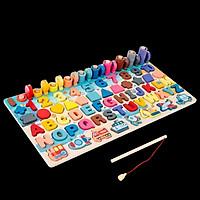 Đồ chơi gỗ thông minh 6in1 luyện chữ, số và tư duy cho bé