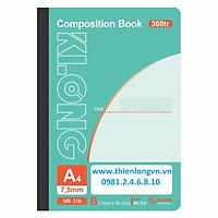 Sổ may dán gáy A4 - 360 trang; Klong 316 bìa xanh dương