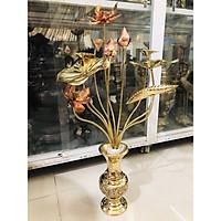Hoa sen bó 10 cành thờ cúng gia tiên, bằng đồng vàng nguyên chất
