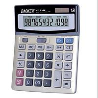 Máy tính tiền 12 số to mặt kim loại 2 nguồn pin Baoke EC 2358