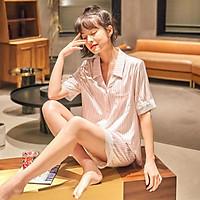 Pijama- Bộ Ngủ Lụa Set Cộc Mặc Nhà Màu Hồng Sọc Viền Ren CCLP08