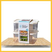 Bộ 2 Hộp Đựng Thực Phẩm Cao Cấp No Brand - Loại 420ml, 920ml và 1.9L