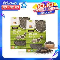 Combo 2 hộp Hạt Chia Đen Hữu Cơ Smile Nuts 500g - Nhập khẩu từ Nam Mỹ (Hạt Chia 100% Organic, hạt sáng, nở đều, không lẫn tạp chất)