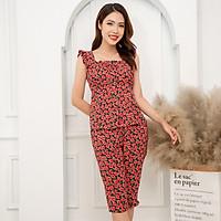 Bộ lửng mặc nhà cổ vuông họa tiết đỏ Hoa Việt