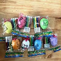 Trứng tô màu kèm 4 bút lông cho bé , COMBO 10 trứng