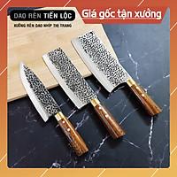 Bộ 3 Dao Nhà Bếp Rèn Từ Thép Nhíp Dập Vân 2 Mặt - Cán Cẩm Chỉ Cao Cấp