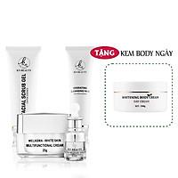 Bộ 4 bước chăm sóc da Trắng sáng Ngừa Nám KN Beauty chuyên sâu: Kem dưỡng + Serum + Sữa rửa mặt + Tẩy tế bào chết  (Tặng Body Bơ Ngày)