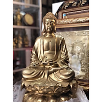 Tượng Phật Thích Ca bằng đồng, tuong phat tho cung, duc tuong phat ngoi dai sen cao 45cm