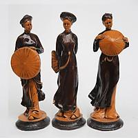 Bộ 3 Tượng Cô Gái 3 miền Bắc - Trung - Nam DSF-HR40 Bằng Đá Nhân Tạo Giả Gỗ Nghệ Thuật - Cao 25cm, trang trí phòng ngủ, để bàn làm việc, trang trí phòng khách - Hàng đá mỹ nghệ  truyền thống