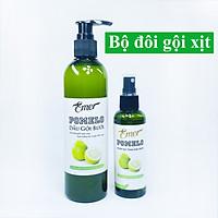 [BỘ ĐÔI GIẢM RỤNG, MỌC TÓC] Dầu gội bưởi Pomelo 300ml  + Nước xịt tinh dầu bưởi Pomelo 100ml giúp giảm rụng tóc, kích thích mọc tóc mới, giảm khô xơ và chẻ ngọn